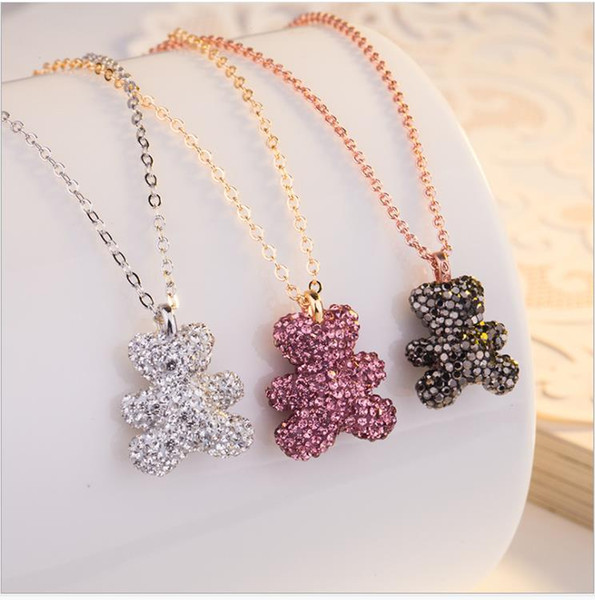 Black Teddy Bear Necklace Pink Black and white tricolor bear full of drilling clavicle chain