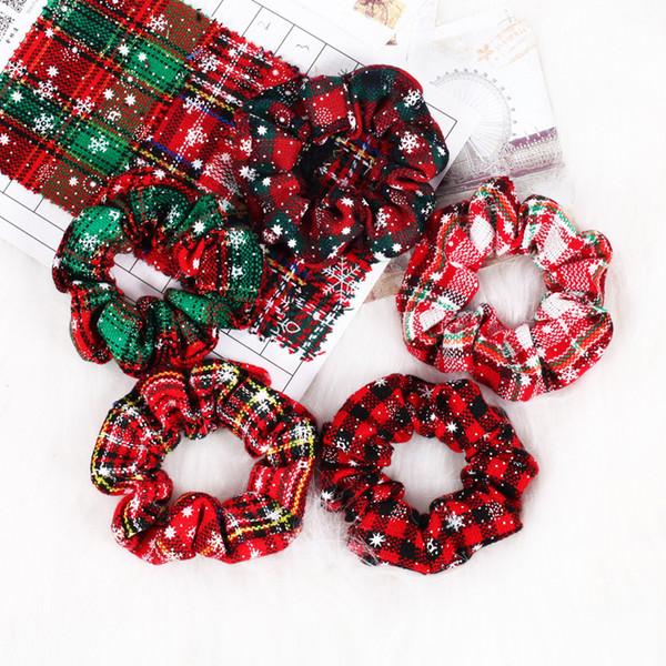En Çok Satan 2019 Ürünler Saf Pamuk Kumaş Hairring Noel kar tanesi Çizgili Kravat Topu Saç Halat Drop Shipping Toptan