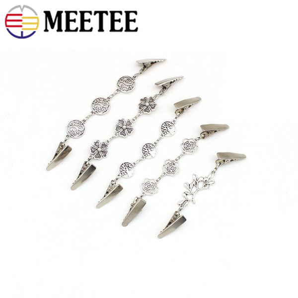 Meetee Retro Clothing Shawl Scarves Buckles Metal Clip Clasps DIY Sweater Blouse Metal Buttons For Cardigan Shirt Collar