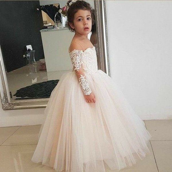 Luxury Little Girls Pageant Dresses Lace 3D Floral Appliqued Beads Jewel Neck Lace Flower Girl Dress for Wedding Party Gowns Princess