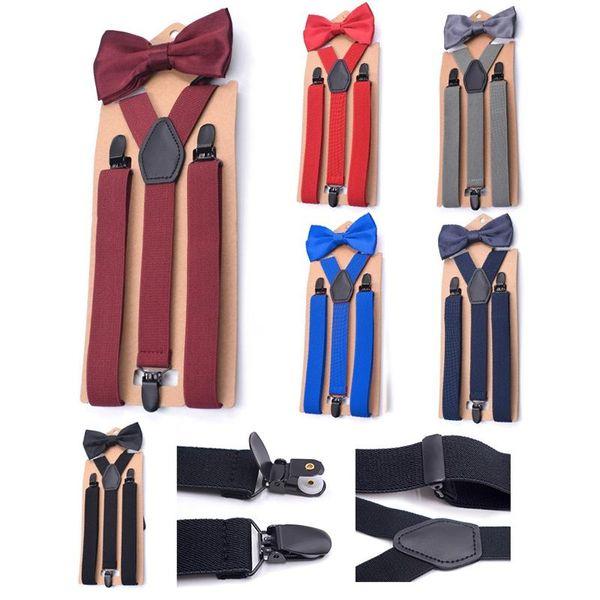 Adult Three-clip Y- Shaped Suspenders Bow Tie Set Adjustable Braces Elastic Strap Set Bib Y-shaped Sling
