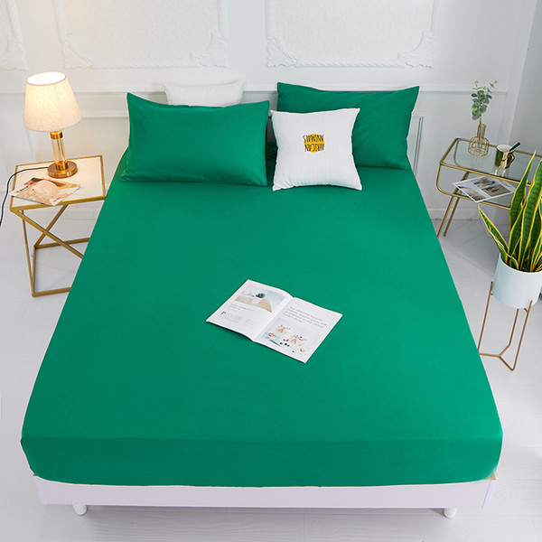 (New On Product)1pc 100%Polyester Solid Fitted Sheet Mattress Cover Four Corners With Elastic Band Bed Sheet