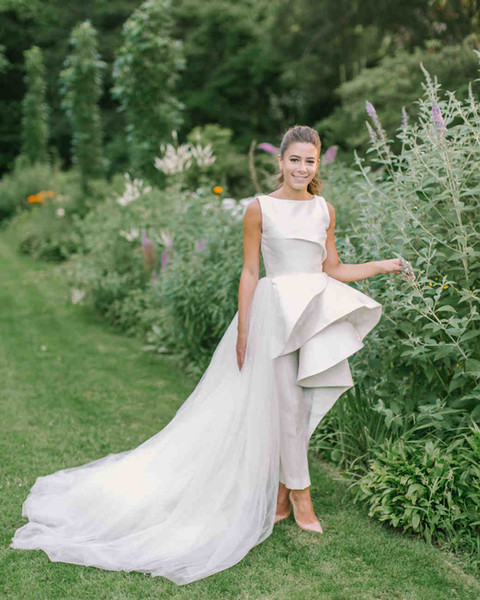 Discount 2019 New Arrival Wedding Bridal Jumpsuits Country Style With Detachable Train Jewel Neck Zipper Court Train Satin Tulle Cheap Modest The Knot