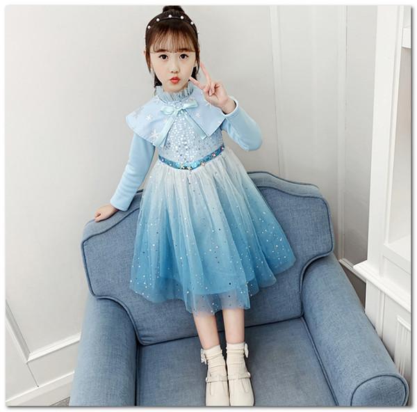 ANNA2 princesa vestido de lantejoulas rendas tule Aisa neve partido rainha vestido meninas manto roupas cosplay inverno crianças de veludo concurso de vestidos J1780