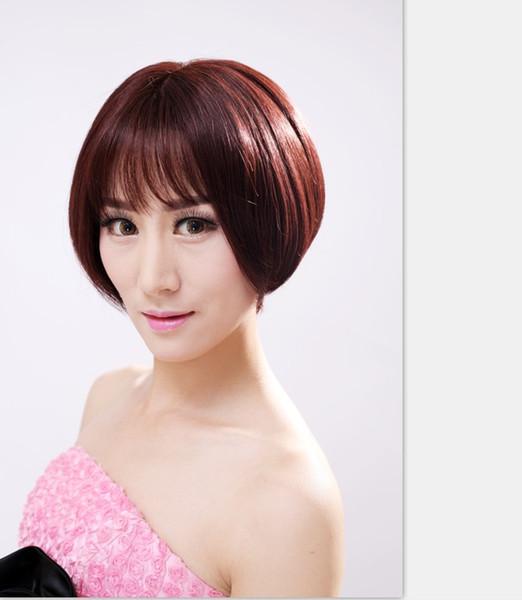 Yeni insan saç Bobo kadın saç kısa düz saç peruk lob toka