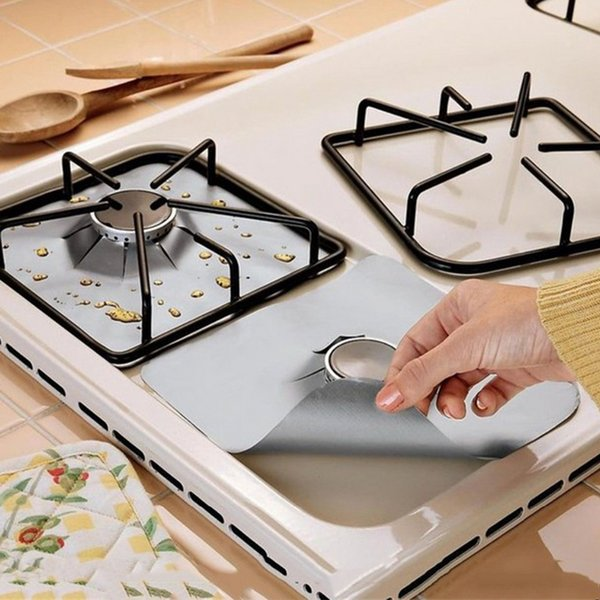 2/4pcs Gas Stove Protectors Reusable Gas Stove Burner Cover Liner Mat Fire Injuries Protective Foil Specialty Kitchen Tools