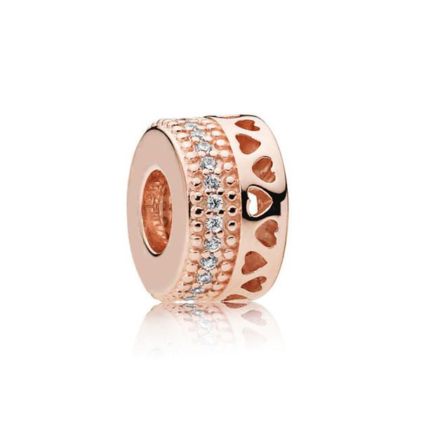 Kristie 100% 925 plata esterlina Charm 787415CZ-1 Rose Hearts of Spacer Joyería de moda original para mujer