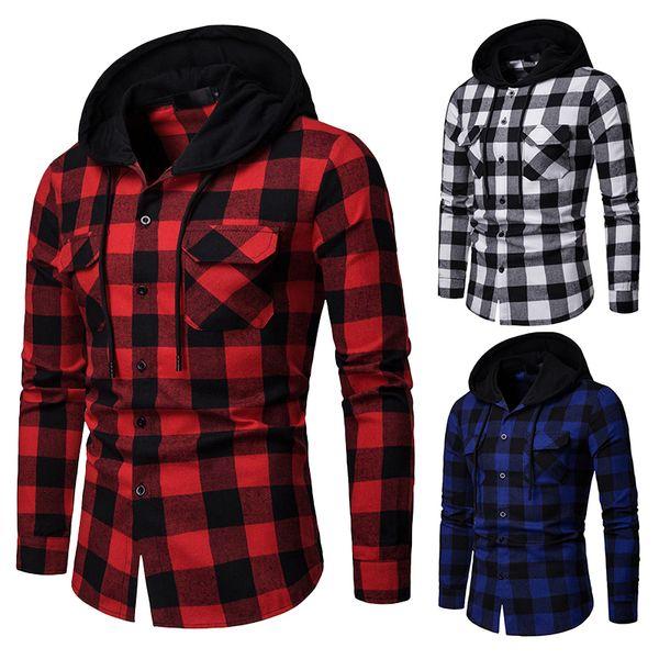 2019 nouvelle chemise à carreaux hommes printemps casual chemises à capuche hommes outwear hoodies mode camisas masculin chemise homme EU taille S-XXL