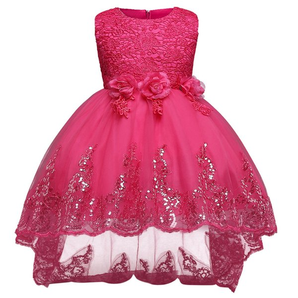 Embroidery Flower Sequins Girl Dress Sequin Petal Princess Dresses Kids Children Clothing Girls Birthday Clothes Wedding Party Dress Girl