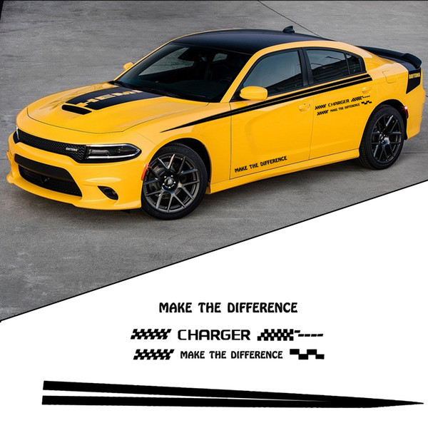 Car Sticker For Dodge Charger Sports Racing Graphic Stickers Truck Auto Car Body Side Door Decals Decoration Black Or White
