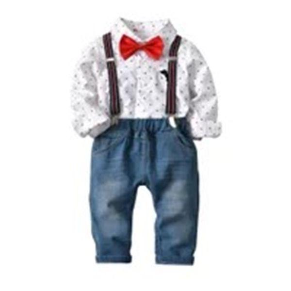 Designer Kids Boys Clothing Set Gentleman Long Sleeve Stripes Plaid Shirts + Straps Denim Suits Spring Autumn Children Clothing Sets 2-7T