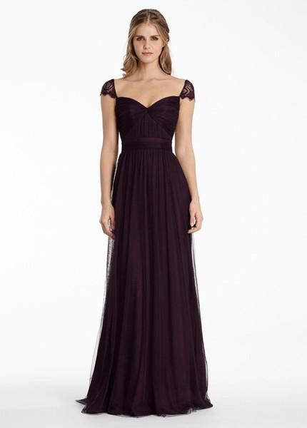 2019 Grape Tulle A Line Long Maid of Honor Dress Lace Portrait Neckline Bridesmaid Dresses Zipper Back Wedding Party Formal Gowns