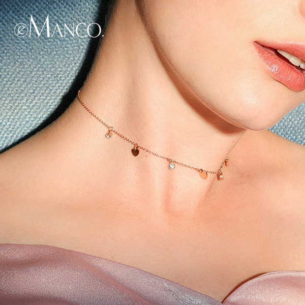Manco Simple Design Heart Pendants Necklace Two Colors Luxury Chains statement Stainless Steel Necklace Hot Fashion Jewelry e-Manco Sim...