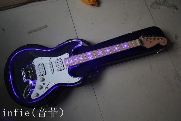 Nuovi modelli trasparenti di colore ST della chitarra elettrica della tastiera del collo del piano del plexiglass acrilico libero di trasporto