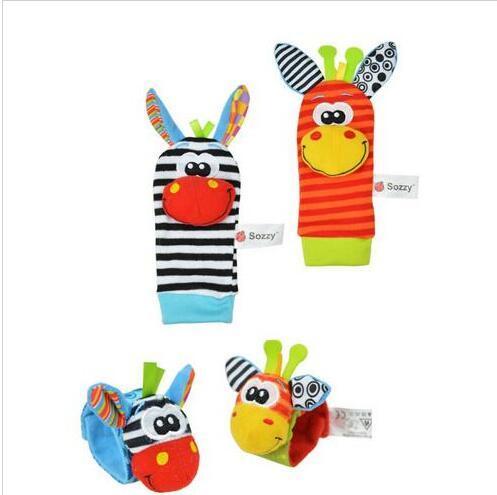 Hot Sale - Baby Newborn Toys Lamaze Style Sozzy Rattle Wrists Zebra Wrist Rattles and Socks Toys (1 set = 2 wrists + 2 socks)