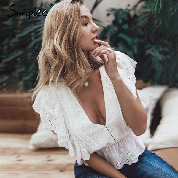 Blusa de verano con cuello en v sexy Simplee para mujer Camisa de algodón con bordado de cintura alta con volantes Blusa blanca de moda 2019 tops para mujer