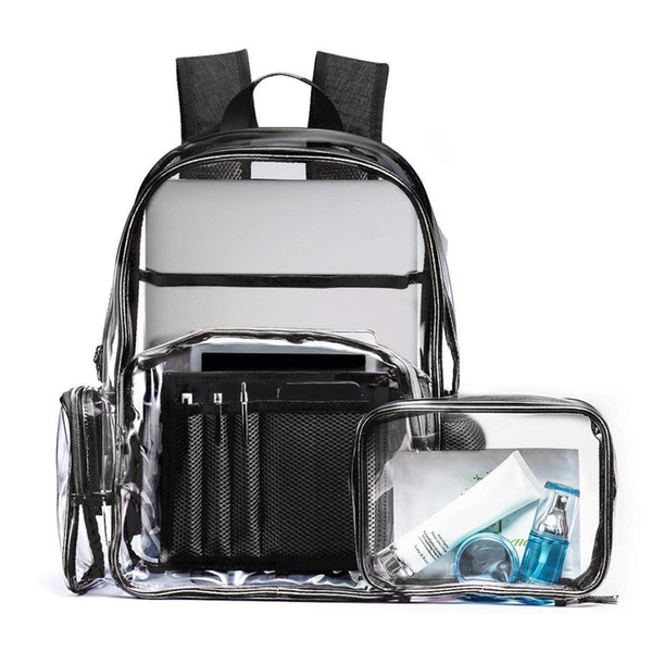 AUAU-Clear Backpack for Girls Fit 15.6 inch Laptop School Bag Bookbag for Student Transparent PVC Multi-Pockets School Backpac
