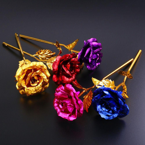 24K Gold Plated Rose Artificial Flower Valentine's Day Gift Birthday Romantic Golden Rose Home Decor Festive Party Supplies