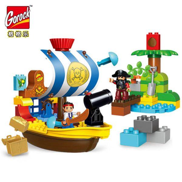 GOROCK 63 unids Pirate Series Jack Sparrow barco Bucky modelo tamaño grande LegoIN Building Blocks Toys Compatible Duplo figuras niño regalos