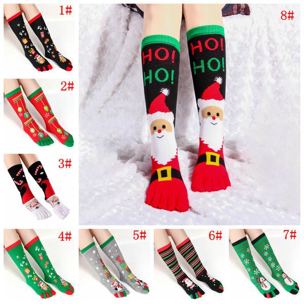 8styles Bas de Noël hiver Sweat Absorbent Toe chaud Chaussettes unisexe Noël Imprimer Toe Socks cinq doigts Cottoon Sock FFA2991-1