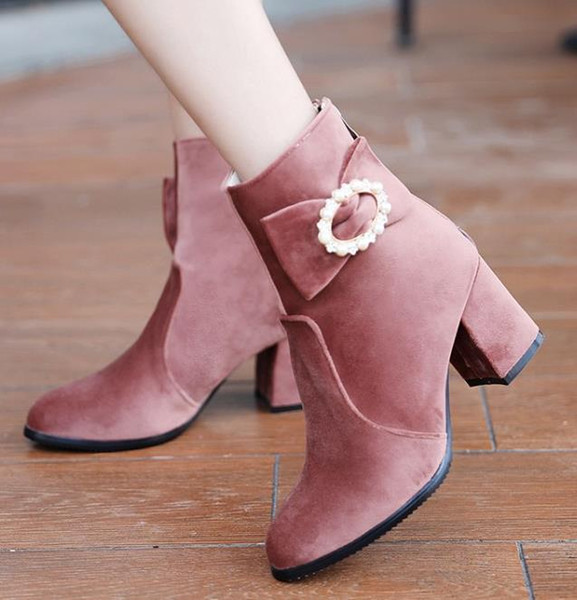 top popular Big small size 32 to 42 to 48 sweet velvet winter boots chunky heel ankle bootie black pink grey Come With Box 2021