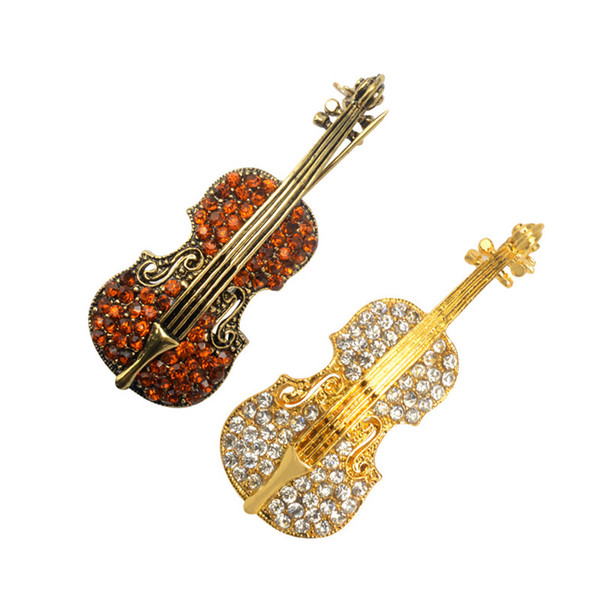 luxury women designer brooches violin lady lapel pins gold silver plated diamond fashion jewelry accessories alloy best gift