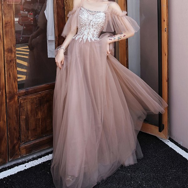 Bridesmaid's Fairy temperament 2019 new winter simple atmosphere long sister group wedding shiny fairy evening dress