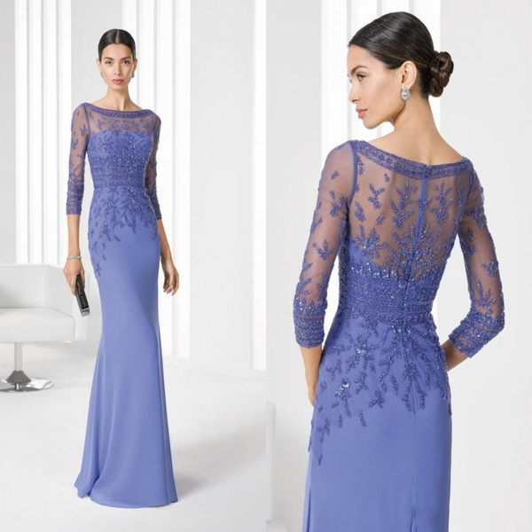 top popular New Arrival 2020 Vintage Mother of Bride Dresses Womens Cheap 3 4 Sleeves Bateau Wedding Party Formal Evening Gowns 2019