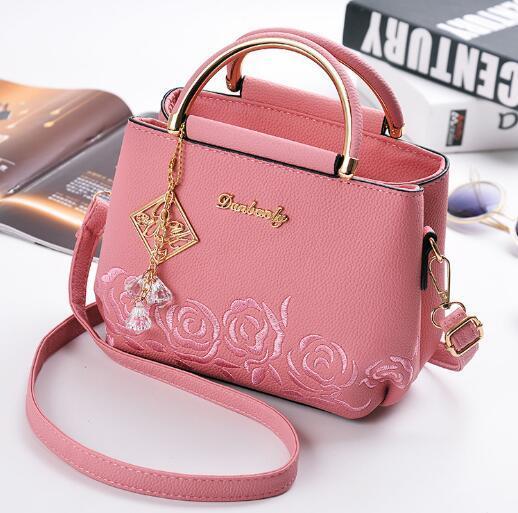 Heiße Art Personalisierte einfache Handtasche PU-Material bestickte Single-Shoulder-Cross-Body-Tasche reine Farbe mit Eimer kleine quadratische Tasche