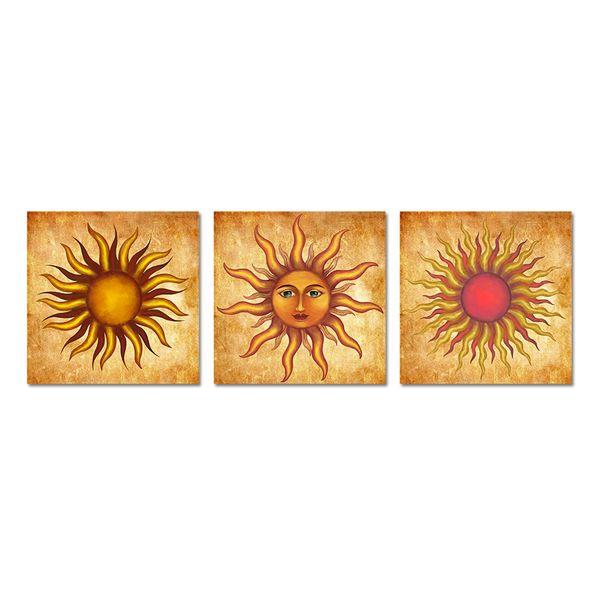 Unframed 3 Peças Sun Wall Art Sunface Retro Pintura Imagem Imprime em Tela