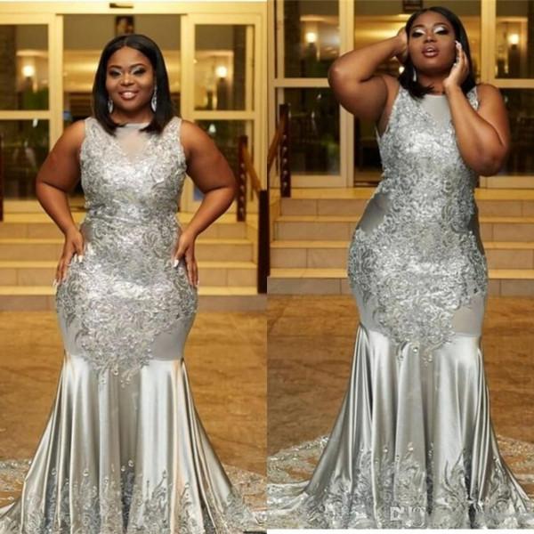 African Gray Appliqued Sequined Mermaid 2K19 Prom Dresses Formal Elegant  Jewel Neck Floor Length Black Girls Evening Gowns Plus Size Vintage Prom ...