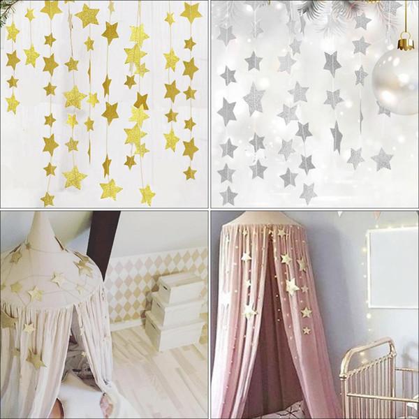 Compre Estrellas Doradas Decoración Colgante Guirnalda De Estrellas Pastel Guirnalda De Estrellas Empavesado Para Bodas Fiesta Habitaciones Para Niños