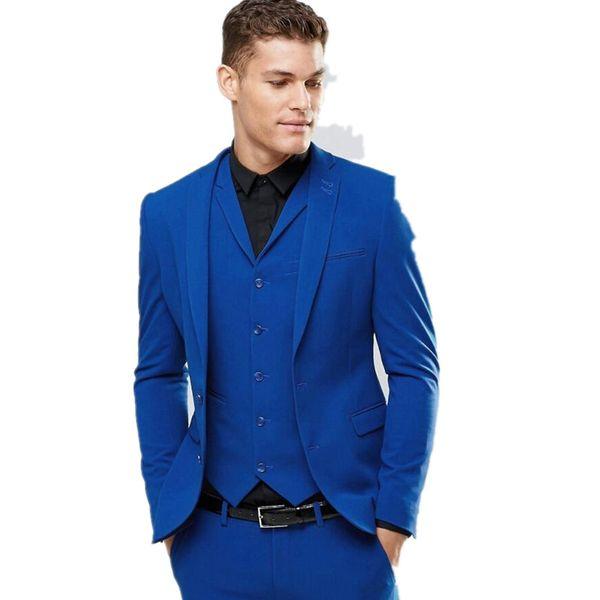 Custom Made Blue Men's Wedding Prom Suits 3 Pieces Best Man Bridegroom Tuxedos Two Button Wedding Tuxedos Blazer (jacket+pants+vest)