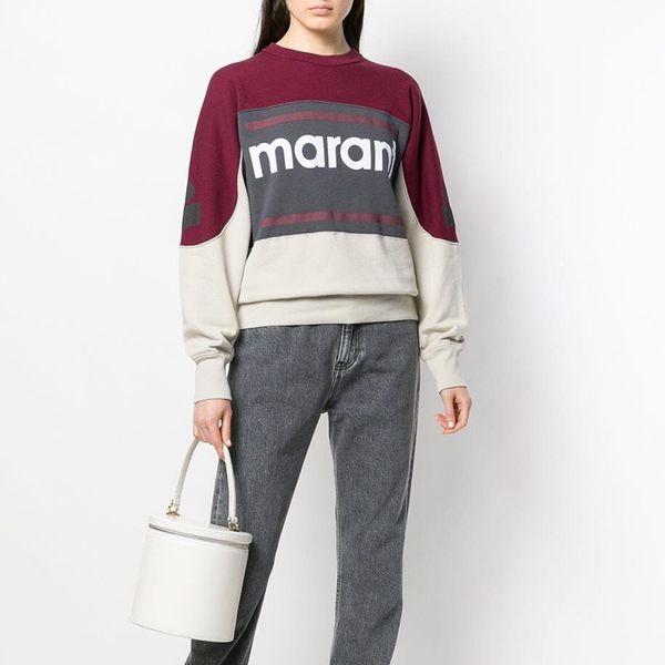 19FW Marant Sweatshirt Color Matching Vintage O-Neck Long Sleeve Street Pullover Sweatshirts Fashion Spring Summer Sweater Shirt HFHLWY032