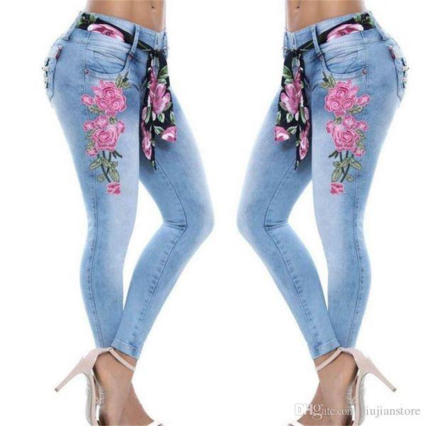 Fermuar Kadınlar Casual Giyim olan kadınlar Moda Çiçek Baskılı Jeans Tasarımcı Gevşek Kadın Pantolon
