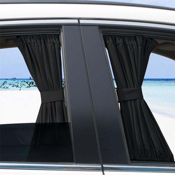 2 x 50S Adjustable Black Car Side Window Sunshade Universal Auto Rear Block Interlock Curtain UV Sun Shade Visor