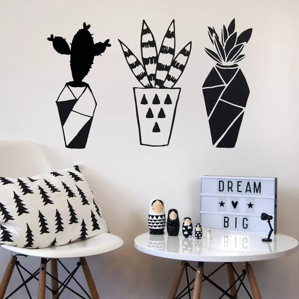 Geometrische Cactus Plants Wandtattoo Hauptdekor-Raum-Vinylwand-Aufkleber für Wohnzimmer Nordic Home Decoration Art Mural