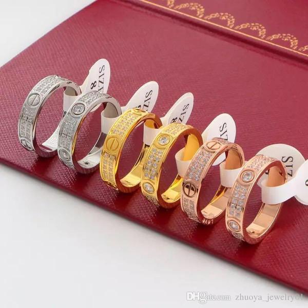2018 Versione stretta del classico anello dell'amore eterno in acciaio inossidabile con un paio di anelli di diamanti
