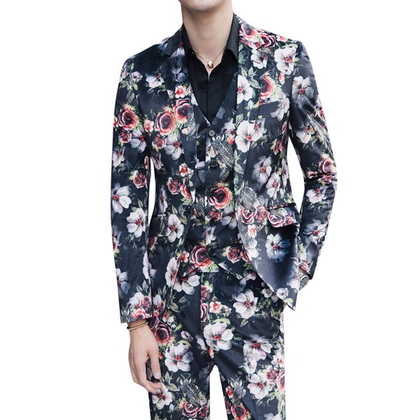 Printed men's lounge suit men's slim suit jacket fashion show stage costume nightclub singer dancer DSDJ costume