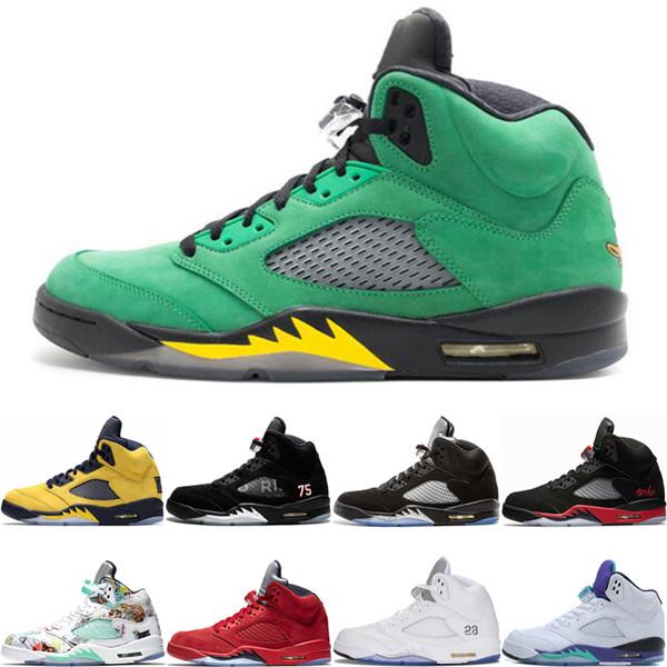 Hot Sell 5 5s Basketball Shoes Oregon ducks PSG Black White Michigan Inspire Wings White Grape Designer Mens Sports Sneakers 8-13