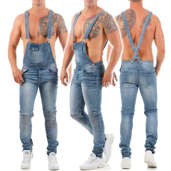 2019 мужчин комбинезоны джинсы мода разорвал свободного покроя с поясом комбинезоны отверстие джинсовые комбинезоны с нагрудниками велосипед Жан Бесплатная доставка