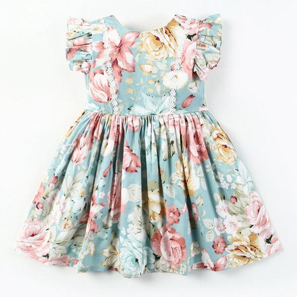 UK Baby Kids Girl Ethnic Printing Sleeveless Jumper Dress Tutu Headband Outfits