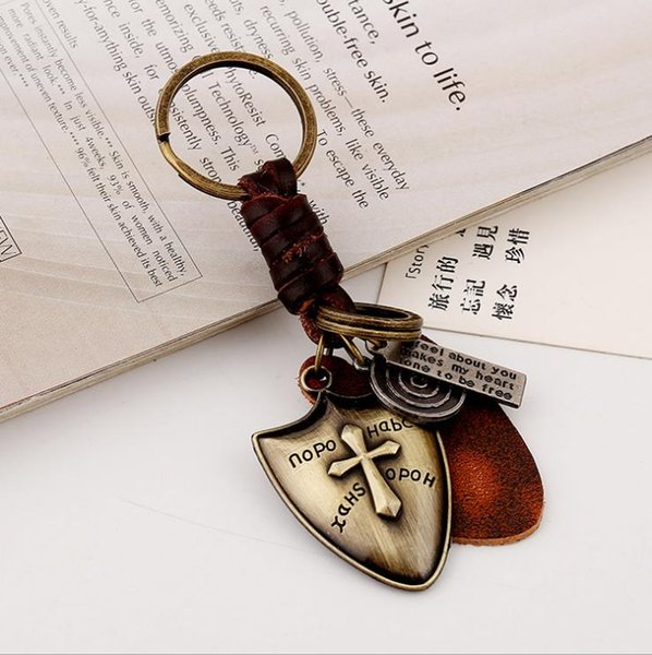Original Vintage Weave Leather Car Keychain Key Accessories Handmade Small Gifts