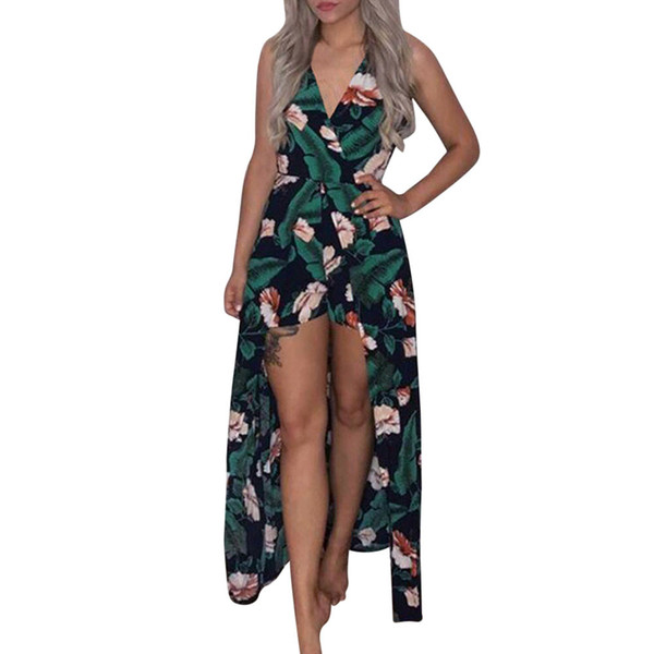 Jumpsuit Women Green 2019 Jumpsuit Boho Strapless Printing Playsuit Summer Beach Rompers mono mujer-30
