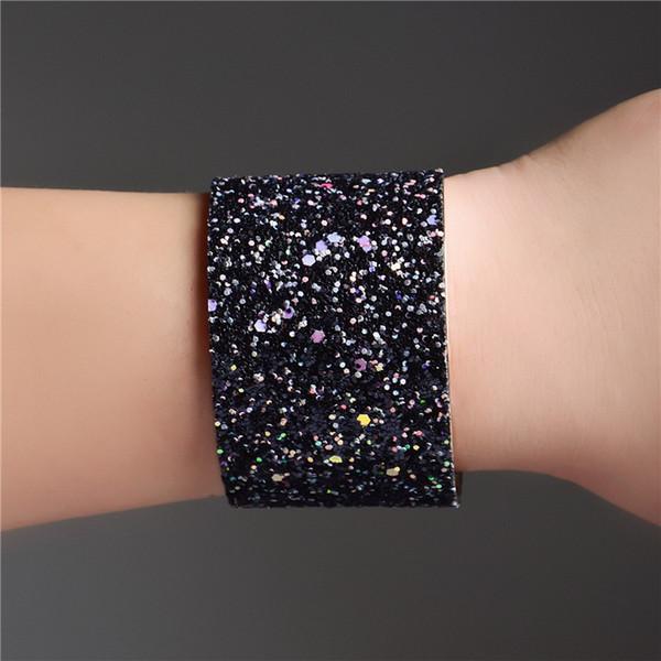 Wide Cuff Bracelets & Bangles For Women Men Alloy Leather Sticker sequins Open Big Male Female Bangle Punk Jewelry