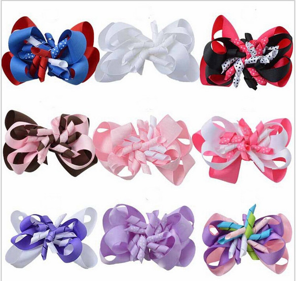 100pcs girl Layered curly ribbon Korker Hair Bows clips Boutique M2MG corker Hair bands Hairclips Headwear accessories PD015