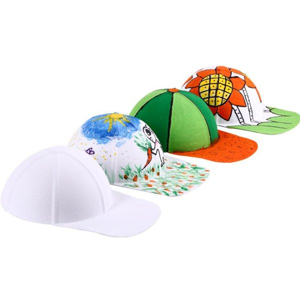 100pcs DIY Hand-painted White Pulp Paper Blank Baseball Cap Hat For Kids Hip Hop Caps Party Decoration Gift SN2432