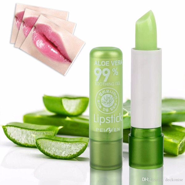 best selling Portable Natural Plant Aloe Gel Lip Balm Color Changing Lipstick Moisturizing Long-lasting Cosmetic Lip Care Lip Stick