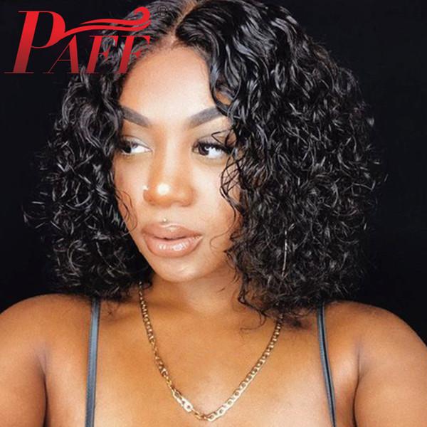Acheter PAFF Lace Front Perruques De Cheveux Humains Court Bob Curly  Naturel Couleur Partie Milieu Remy Perruque Brésilienne De Cheveux Pré  Plumée ...