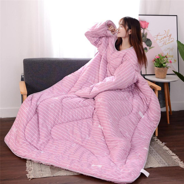150x200cm Winter Autumn Lazy Quilt With Sleeves Thickened Blanket Cape Cloak Nap Baby Whale Pink/Gray/Blue/Small Umbrella Blue